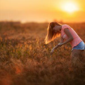фотосессия в поле на закате